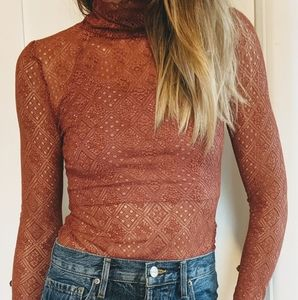Free People lace turtleneck